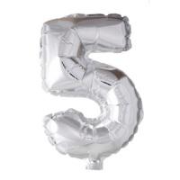 Folieballon cijfer 5  Zilver 41cm