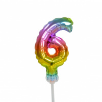Taart folieballon cijfer 6 Rainbow