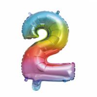 Folieballon cijfer 2 Rainbow 41cm