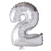 Folieballon cijfer 2  Zilver 41cm