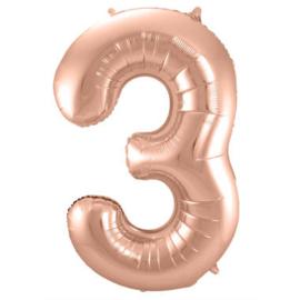 Folieballon cijfer 3 Rosé goud 86cm