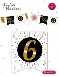 """Festive numbers """"6"""" 3 stuks"""