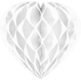 Honeycomb hart wit 30cm