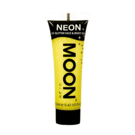 Neon UV glitter face & body gel yellow