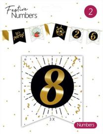 """Festive numbers """"8"""" 3 stuks"""