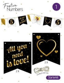 "Festive numbers starter kit ""Love"" 4 st. + lijn"