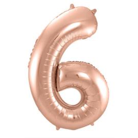 Folieballon cijfer 6 Rosé goud 86cm