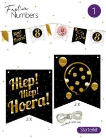 "Festive numbers starter kit ""Hiep Hiep Hoera"" 4 st. + lijn"