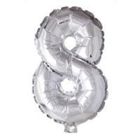 Folieballon cijfer 8 Zilver 41cm
