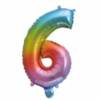 Folieballon cijfer 6 Rainbow 41cm