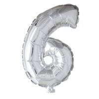 Folieballon cijfer 6 Zilver 41cm