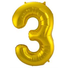 Folieballon cijfer 3 goud 86cm