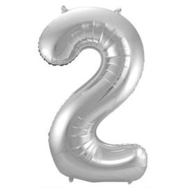 Folieballon cijfer 2 Zilver 86cm