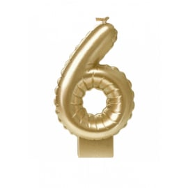 'folie ballon' kaarsje goud 6