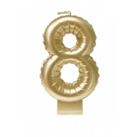 'folie ballon' kaarsje goud 8