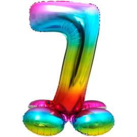 Folieballon cijfer 7 rainbow met standaard