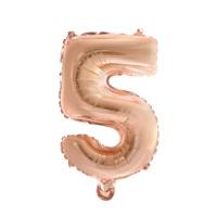 Folieballon cijfer 5 Rosé goud 41cm
