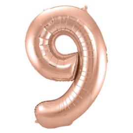 Folieballon cijfer 9 Rosé goud 86cm