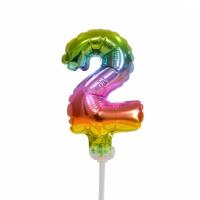 Taart folieballon cijfer 2 Rainbow