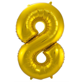 Folieballon cijfer 8 goud 86cm