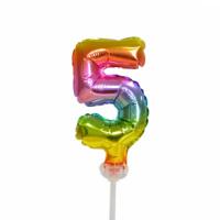 Taart folieballon cijfer 5 Rainbow