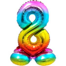 Folieballon cijfer 8 rainbow met standaard