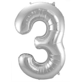 Folieballon cijfer 3 Zilver 86cm
