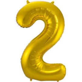 Folieballon cijfer 2 goud 86cm