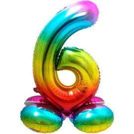 Folieballon cijfer 6 rainbow met standaard