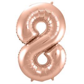 Folieballon cijfer 8 Rosé goud 86cm