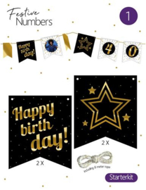 "Festive numbers starter kit ""Happy Birthday"" 4 st. + lijn"
