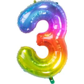 Folieballon cijfer 3 Yummy Gummy