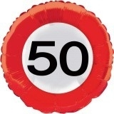 Folieballon verkeersbord 50