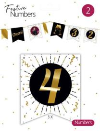 """Festive numbers """"4"""" 3 stuks"""