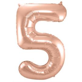 Folieballon cijfer 5 Rosé goud 86cm