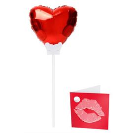 Mini wensballon rood hart