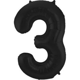 Folieballon cijfer 3 zwart 86cm
