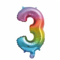 Folieballon cijfer 3 Rainbow 41cm