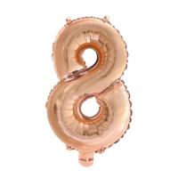 Folieballon cijfer 8 Rosé goud 41cm