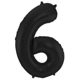 Folieballon cijfer 6 zwart 86cm