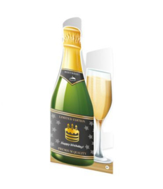 Champagne kaart Happy Birthday