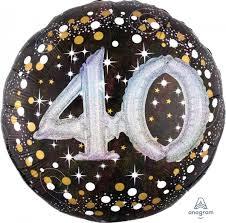 Folieballon 3D Glossy Black 40 Jaar