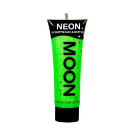 Neon UV glitter face & body gel green