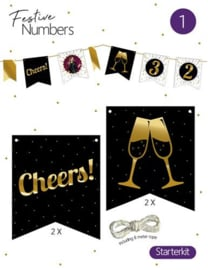 "Festive numbers starter kit ""Cheers"" 4 st. + lijn"