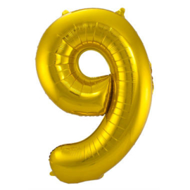 Folieballon cijfer 9 goud 86cm