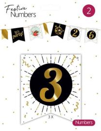 """Festive numbers """"3"""" 3 stuks"""