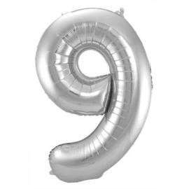 Folieballon cijfer 9 Zilver 86cm