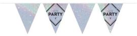 """Vlaggenlijn """"Let's Party"""" holographic zilver"""