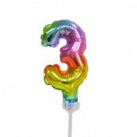 Taart folieballon cijfer 3 Rainbow