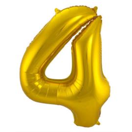 Folieballon cijfer 4 goud 86cm